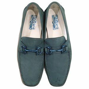Salvatore Ferragamo Mens Light Green Suede Loafers